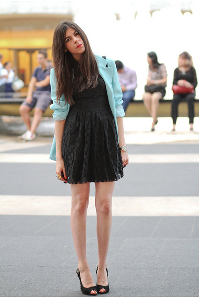 vintage blazer - Love Label dress - sam edelman heels