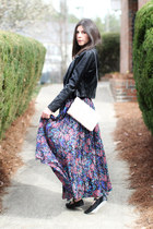 maxi vintage skirt - leather Bebe jacket - H&M bag