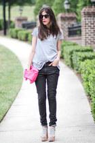 Nanda sandals - skinny jeans superfine jeans - romwe shirt - clutch romwe bag