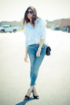 James Jeans jeans - sam edelman heels - asos blouse - Ralph Lauren watch