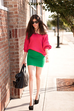 modcloth skirt - kenzie girl modcloth sweater - nightingale bag - asos heels