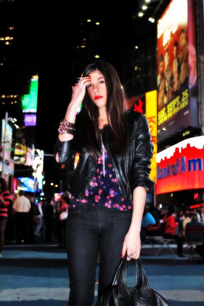 black sold design lab jeans - black Bebe jacket - pink Forever 21 blouse - purpl