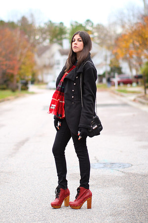 black vintage coat - ruby red tube 2 Jeffrey Campbell boots