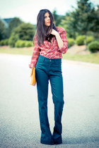 bell bottoms Rue de Jeans jeans - vintage shirt - clutch asos bag