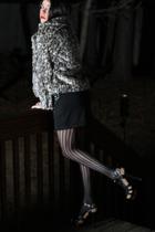 gray Nasty Gal coat - black sandals balenciaga shoes