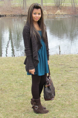 Wetseal shoes - Forever 21 dress - Charlotte Russe tights - Fendi bag - holliest