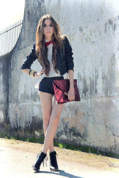 crimson asos bag - white romwe shirt - black sequins Marisa shorts