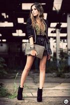 black Boohoo boots - black GoodNight Macaroon blazer - black studded romwe top