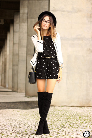 black Dafiti romper - white romwe jacket