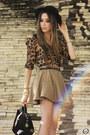 Black-asos-heels-dark-brown-leopard-print-romwe-shirt-tan-sheinside-skirt