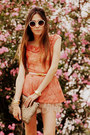 Tan-romwe-bag-beige-romwe-sunglasses-coral-lace-peplum-xiquita-bakana-top