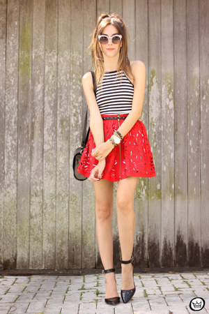 red AsbyDf skirt - white her fashion box top