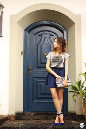 navy romwe skirt - silver Zara shirt - blue PetitSesame bag
