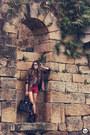 Maroon-studded-awwdore-shorts-black-leopard-romwe-blazer