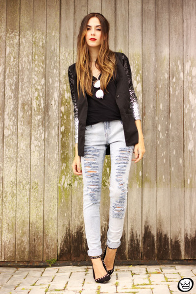 black zaful jacket - off white Moikana pants - black asos heels