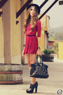 Black-timeless-bag-brick-red-sheinside-dress-black-kafé-bracelet