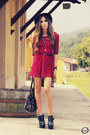 Brick-red-sheinside-dress-black-timeless-bag-black-kaf-bracelet