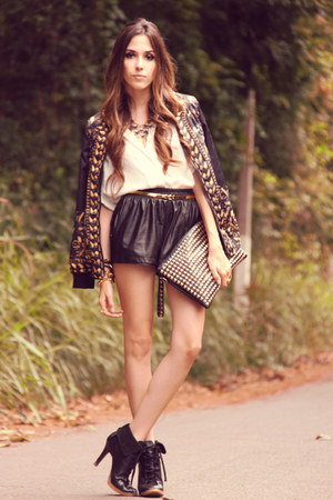black romwe coat - ivory Labellamafia shirt - black awwdore shorts