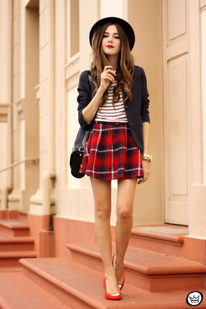 red romwe skirt - navy Gap blazer - white Hye Park and Lune t-shirt
