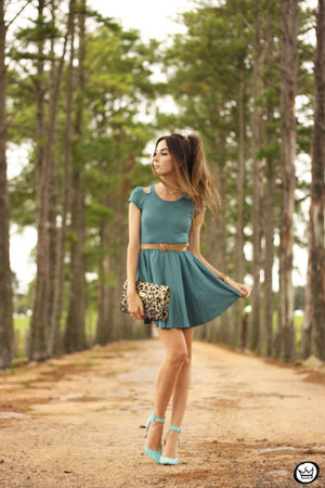 teal Lamandine dress - gold Marina Zardo bracelet