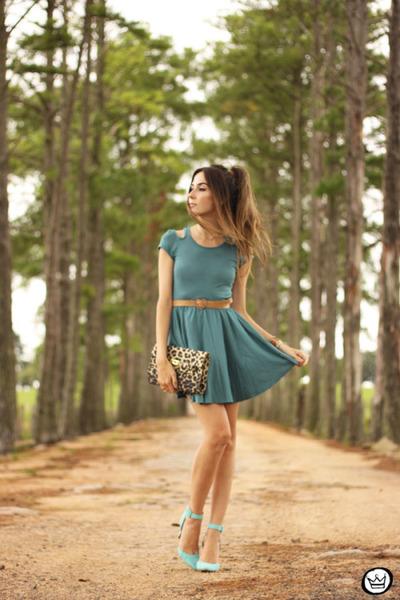 teal Lamandine dress - gold Marina Zardo bracelet