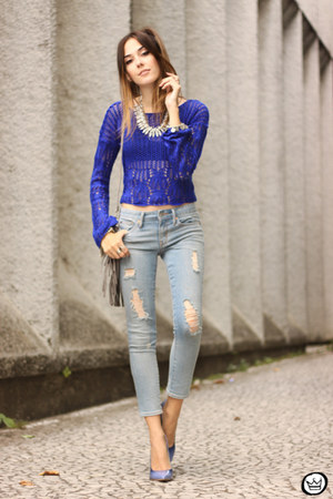 blue Eloecom jumper - silver Bendita Benedita necklace - sky blue Gap pants