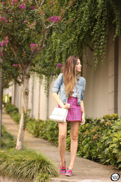 bubble gum Motel Rocks skirt - sky blue levis jacket - white Dafiti bag
