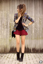 heather gray Lez a Lez blazer - brick red Forever21 skirt