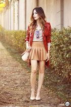 nude Forever21 skirt - ruby red Amaro coat - silver Amaro shirt