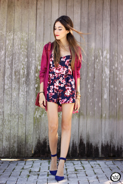 navy Lace & Whiskey romper - ruby red Sly Wear coat