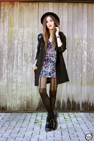 navy Shoulder dress - black Shoulder coat