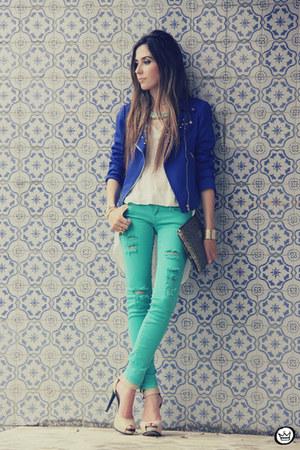 blue romwe jacket - aquamarine romwe jeans
