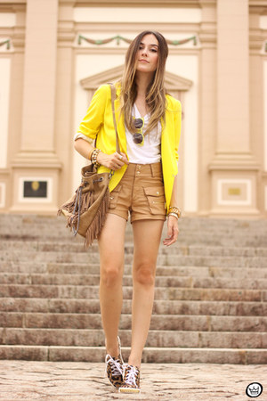 yellow Shoulder blazer - bronze c&a shorts