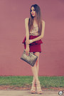 Maroon-goodnight-macaroon-skirt-gold-romwe-bag