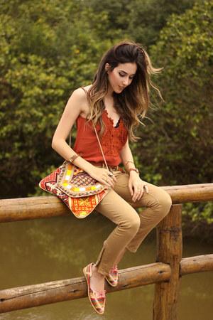tawny Shoulder top - bronze Gap jeans