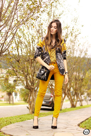yellow Lez a Lez blazer - yellow Lez a Lez top - yellow romwe pants