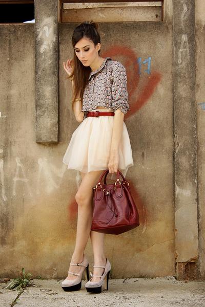 silver Xiquita Bakana top - brick red Late Manta bag - light pink MINUSEY skirt