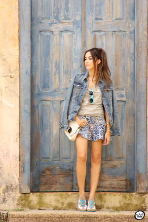 blue Gap jacket - silver Maz Brasil sneakers - blue Displicent skirt