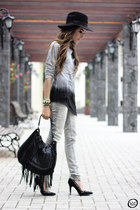 heather gray Kodifik top - heather gray Zara jeans - black Zara bag