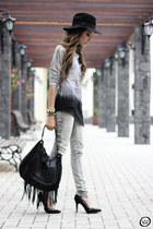heather gray Kodifik top - heather gray Zara jeans - black Zara bag