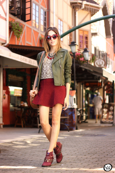 dark green Amaro jacket - silver top - ruby red Forever21 skirt