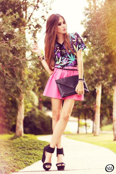 bubble gum Living Royal skirt - black romwe top - black iclothing heels