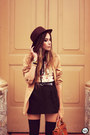 Brown-kafé-acessórios-bracelet-black-antix-dress-dark-brown-romwe-hat