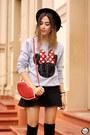 Red-dafiti-bag-black-romwe-skirt-silver-ohkei-jumper