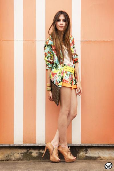aquamarine floral SUIT suit - camel sequins romwe bag