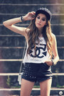Black-spiked-romwe-hat-black-romwe-shorts-white-timeless-t-shirt