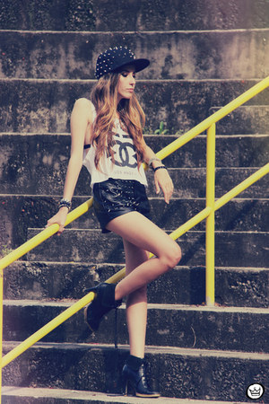black spiked romwe hat - black romwe shorts - white Timeless t-shirt