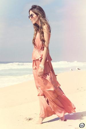 peach H&M dress - brown rounded Zero UV sunglasses