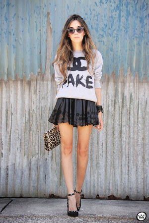 black GoodNight Macaroon skirt - black Kafé Acessórios bracelet