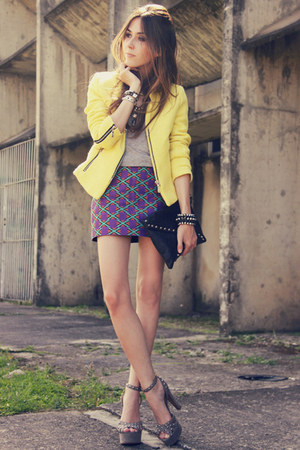 light yellow romwe jacket - purple Juliana Silveira skirt